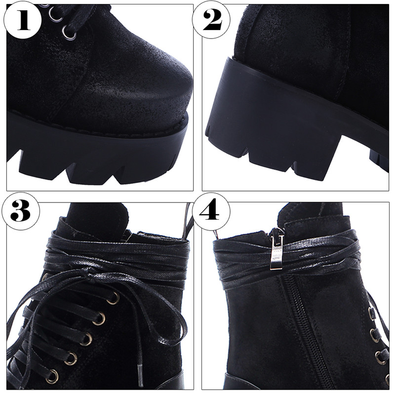 5b43fc900224 Minute Hand 2018 Fashion Black Retro Combat Boots Lace Up Ankle Boots For Women  Platform Square Low Heel Shoes Zip Big Size 42-in Ankle Boots from Shoes on  ...