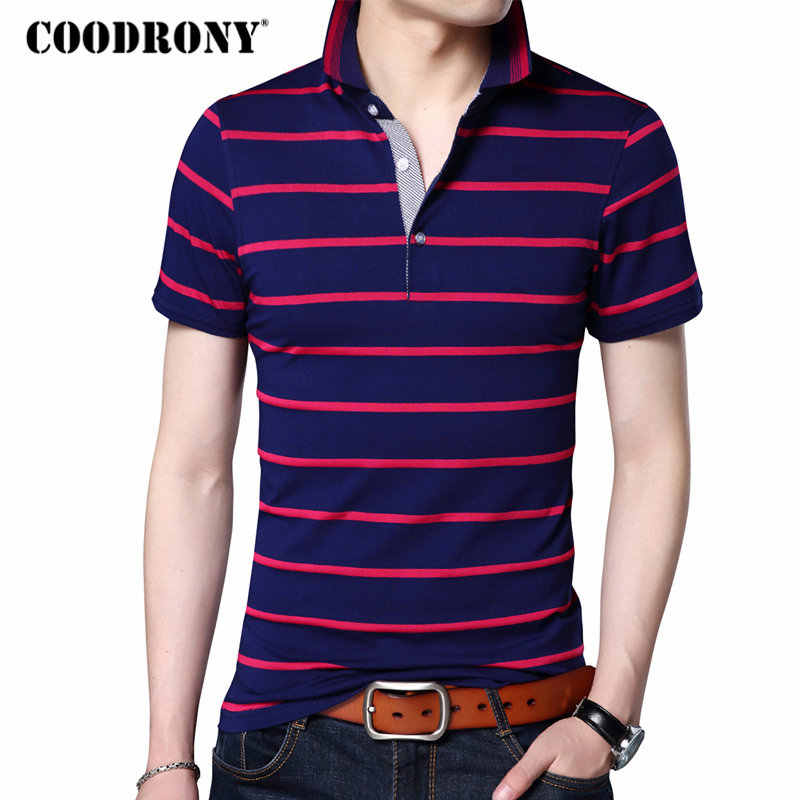 COODRONY Casual Striped Print Short Sleeve T Shirt Men 2018 Spring Summer New Top Men Brand Clothing Cotton T-Shirt Jersey S7649