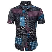 MarKyi 2019 New Summer Cotton Linen Short Sleeve Shirts Male Casual Pattern Hawaii Shirt Tops