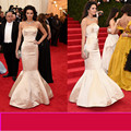 Mermaid Evening Dresses Strapless Off Shoulder Champange Evening Gown Floor Length Red Carpet Celebrity Dres Robe De Soiree