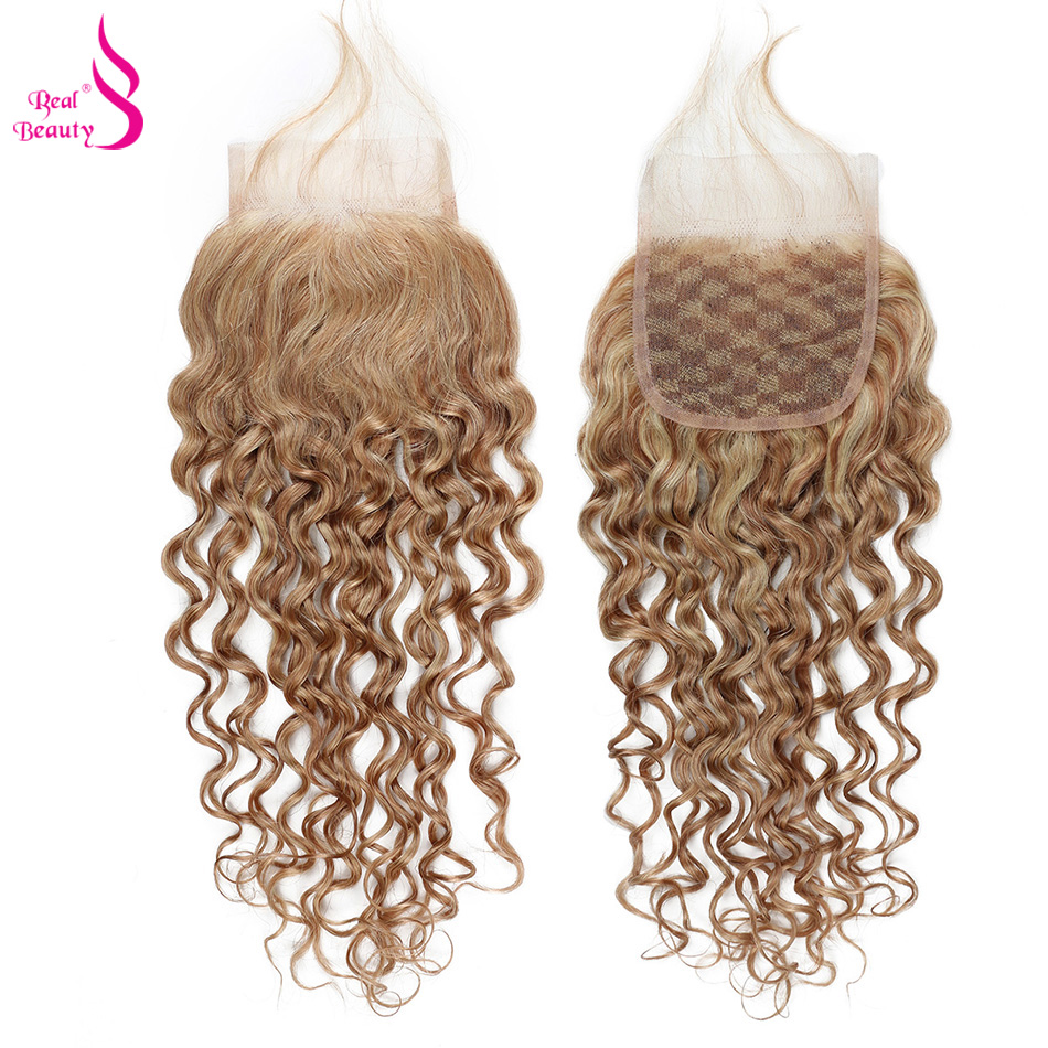 Real beauty Brazilian Water Wave Closure Free Part Remy Hair 4 4 Swiss Lace with Baby
