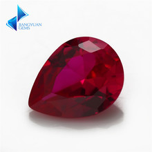 Factory Price Size 3x5~13x18mm Pear Cut 5# Red Stone Synthetic Corundum Gems stone For jewelry(China)
