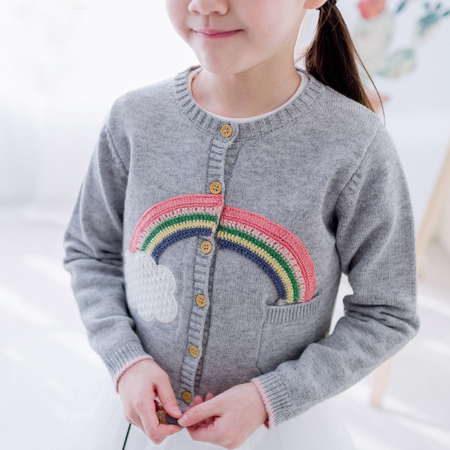 89040cb500f7 2017 Spring Autumn Rainbow Cloud Baby Girls Clothes Knitted Sweaters ...