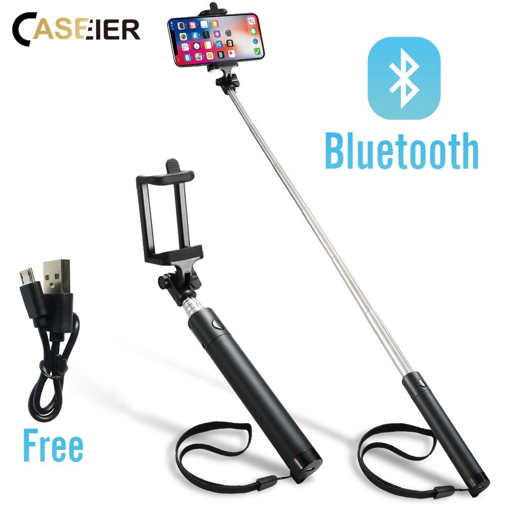 CASEIER Wireless Bluetooth Selfie Stick For iPhone X XS 8 7 6 Mini handheld Selfie Stick Universal For Samsung Xiaomi Huawei led flash fill light selfie stick with rear mirror lighting bluetooth monopod for iphone x 8 samsung huawei xiaomi android phone