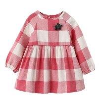 Casual Little Girls Dresses 2016 Autumn Plaid Casual Little Dress For Girls Check Long Sleeve Fall