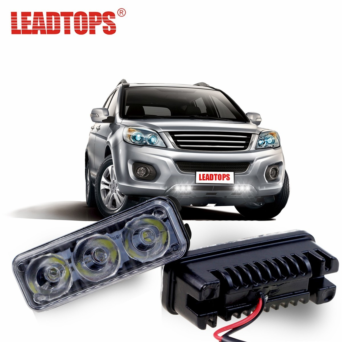 LEADTOPS Waterproof Car High Power Aluminum LED Daytime Running Lights with Lens DC12V Super White 6000K DRL Fog Lamps AJ