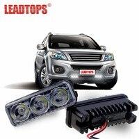LEADTOPS Waterproof Car High Power Aluminum LED Daytime Running Lights With Lens DC12V Super White 6000K