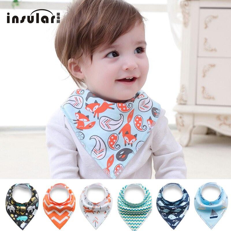 INSULAR New Arrival 100% Cotton Baby Bibs Double Layers Soft Cotton Fiber Newborn Burp Bib Kid Bandana