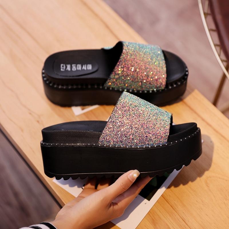 533ce59e867a06 women bling slip on shoes 2018 new korean fashion platform wedges shoes  ladies summer flip flops