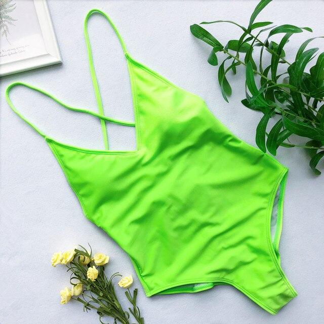 952219223bdc Nuevo 2019 neón verde V cuello una pieza traje de baño mujer Tanga femenino  Sexy brasileño corte pierna alta nadar
