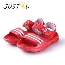 JUSTSL/ г. Летние модные повседневные Нескользящие удобные ботинки для детей, 9 цветов, пляжные сандалии для мальчиков и девочек размер 24-29