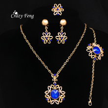 African Jewelry Sets 18K Gold Plated Sapphire Crystal Flower Charms Pendants Necklace Earrings Set Nigerian Wedding Accessories 2017 white crystal flower necklaces bracelet earrings set nigerian accessories wedding bead african costume free shippingabh016