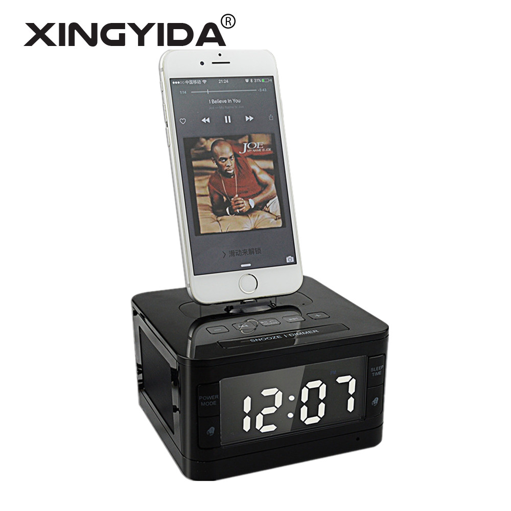 best website e9d30 77ac9 US $92.27 |XINGYIDA T7 Wireless Bluetooth Speakers 8 Pin Charger Dock  Station FM Radio Alarm Clock Desktop Speakers for iPhone 7 SE 5S 6 6S-in ...