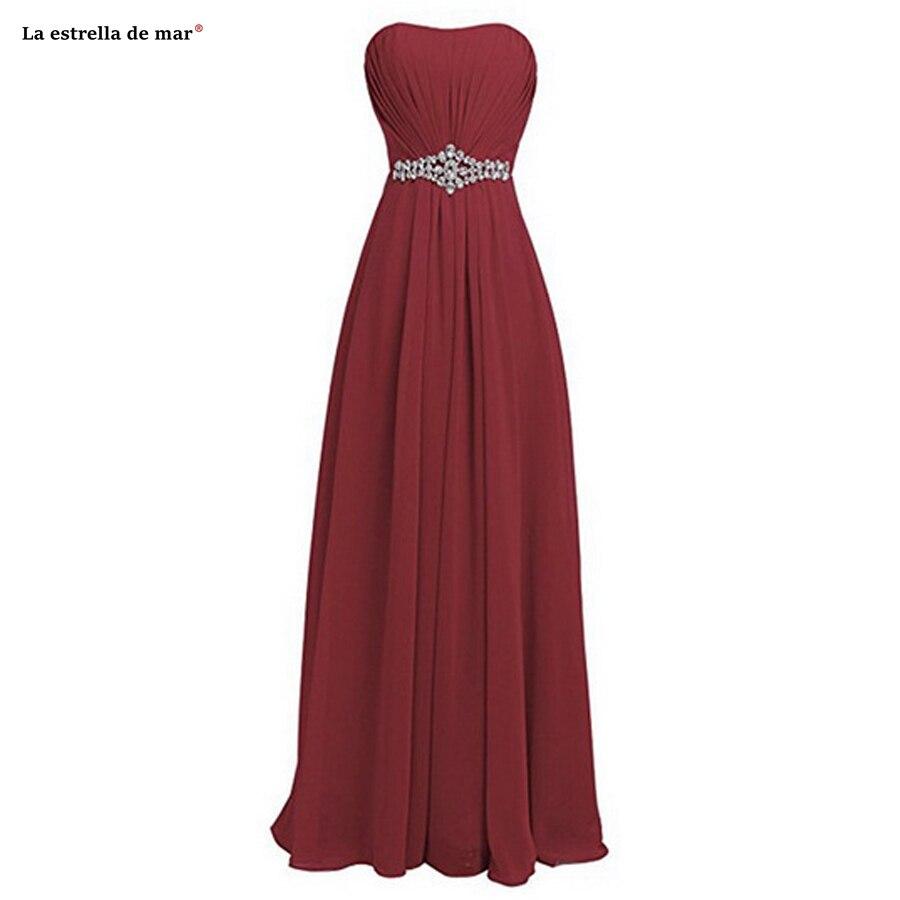Vestido Madrinha SALE Chiffon Diamonds Strapless A Line Burgundy Purple Royal Blue Champagne Bridesmaid Dresses Long Cheap