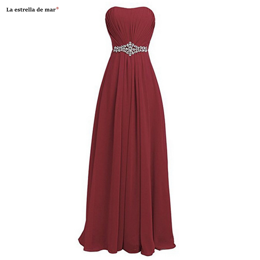 vestido madrinha SALE chiffon diamonds Strapless A line burgundy purple royal blue champagne   bridesmaid     dresses   long cheap