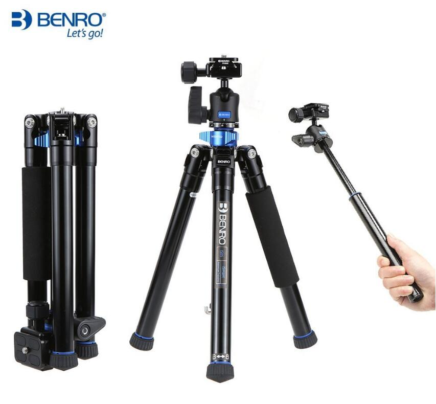 Benro IS05 Portable Light Aluminum Tripod Can Turn to Selfie Stick штатив benro is05