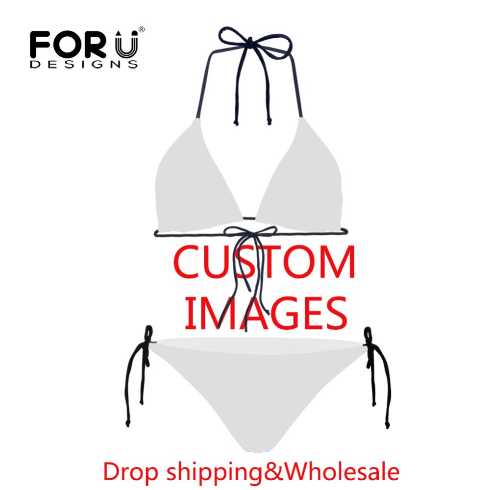 FORUDESIGNS Customized Swimwear Bikini Set Sexy Swimsuit Female Beach Bathing Suits Women Girls Special Material Stretch Spandex