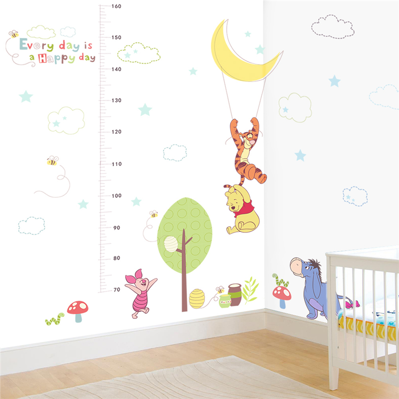 cartoon winnie pooh height measure wall stickers for kids rooms home decor disney animals growth chart wall decals pvc mural art in Wall Stickers from Home Garden