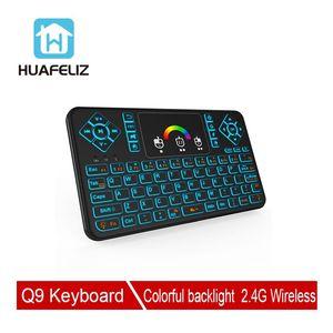 Q9 mini kb 2.4 ghz sem fio 433 mhz mini teclado sete colorful backlight touchpad para android tv caixa computador projetores de tv mais