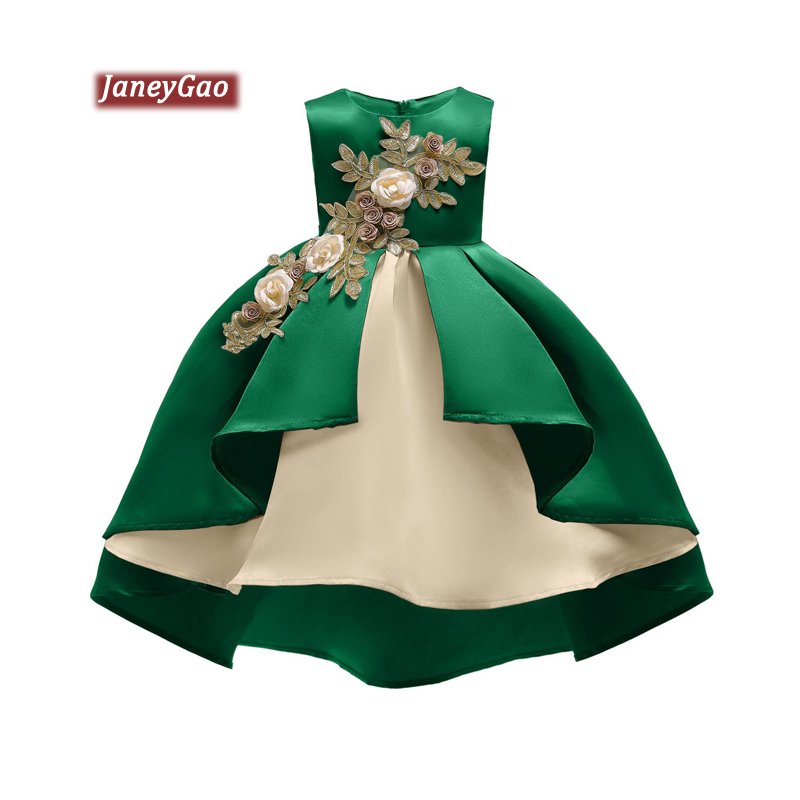 JaneyGao   Flower     Girl     Dresses   For Wedding Party With Appliques Kids Birthday Party Little   Girl   Princess   Dresses   2019 New Style