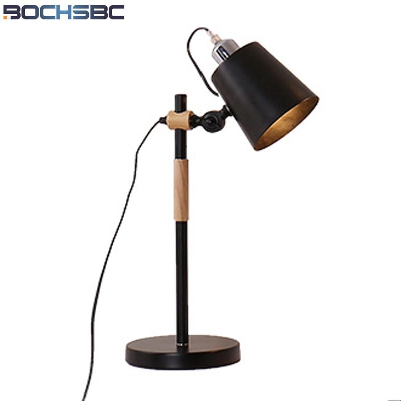 BOCHSBC Регулируемый Дизайн гладить абажур настольной лампы для Спальня вилла Гостиная деревянный рукопожатие гладить базы огни Книги по иску