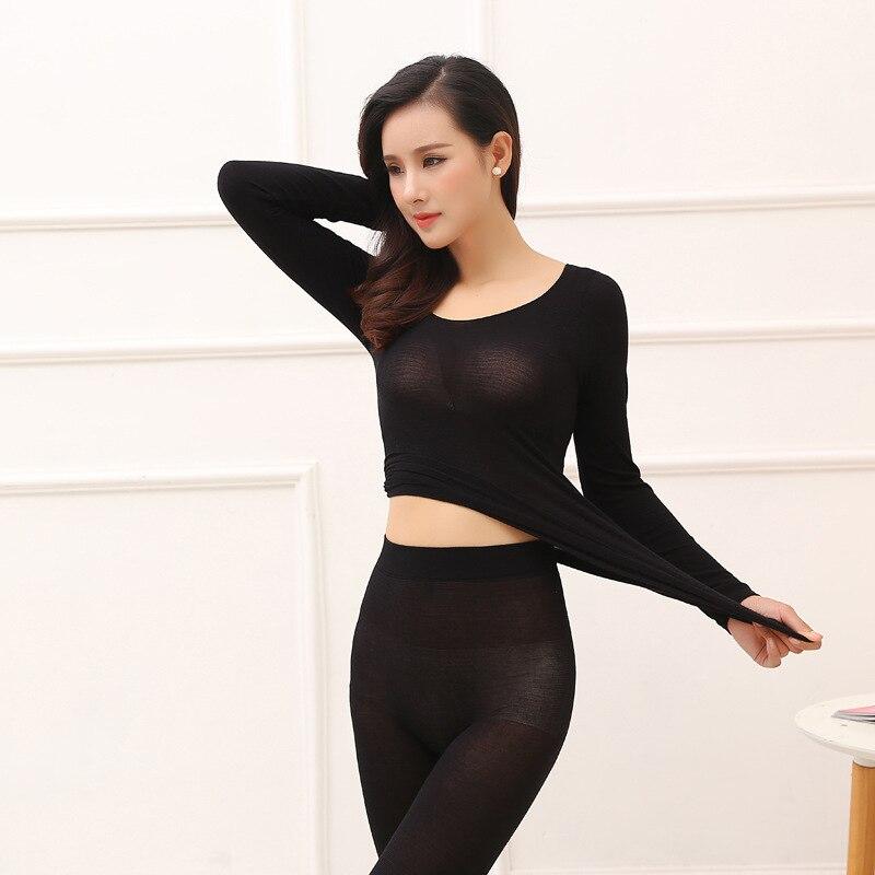 Queenral Thermal Underwear Men Women Long Johns Women Winter Ultra Thin Seamless Shape Slimming Thermal Underwear Male Female 444 (2)