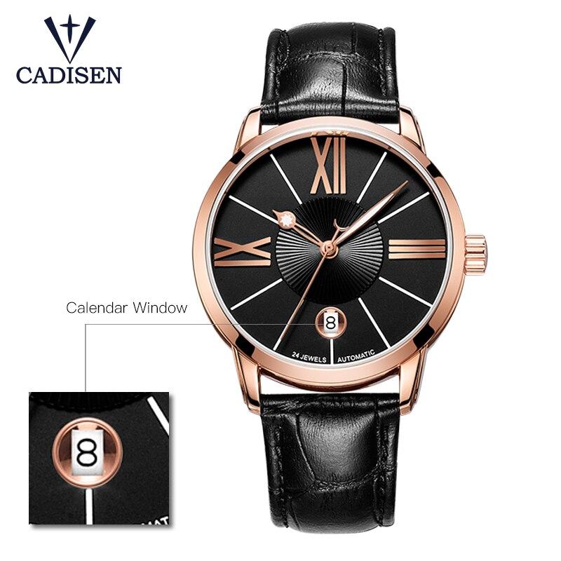 Reloj de pulsera de Cadisen para hombre 2018 reloj de pulsera automático de lujo famoso para hombre reloj de pulsera de oro-in Relojes mecánicos from Relojes de pulsera    3