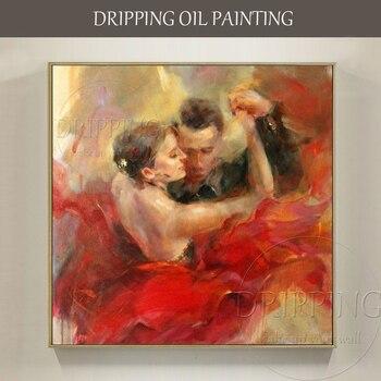 Excellent Artist Hand-painted Impressionist Dancer Oil Painting on Canvas Large Size Spain Dancer Dancing Portrait Oil Painting