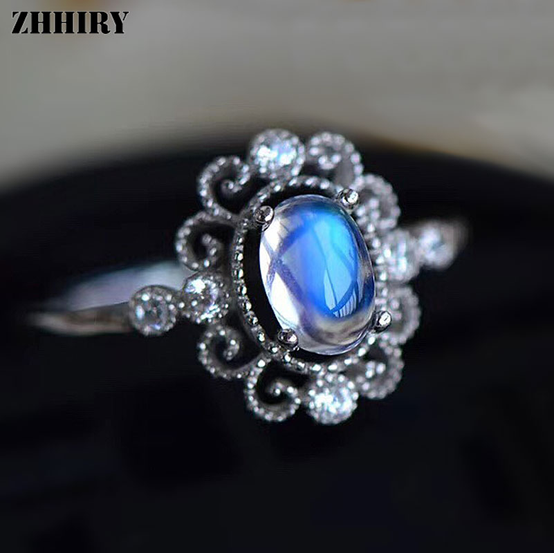 ZHHIRY Genuine Natural Moonstone Ring Solid 925 Sterling ...