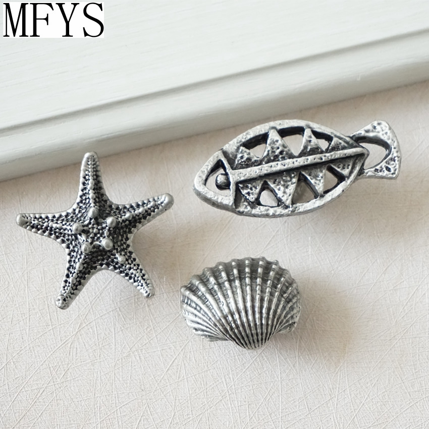 Starfish Sea Star Shell Antique Silver Black Dresser Knob Drawer Knobs Handles Kitchen Cabinet Door Handle Nautical Hardware starfish fishing net wood grain nautical shower curtain page 6