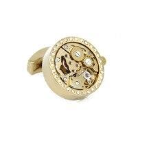Promotion 2015 New Functional Watch Movement Cufflinks Crystal Steampunk Gear cufflinks Best Gift cuff links Wholesale&retail