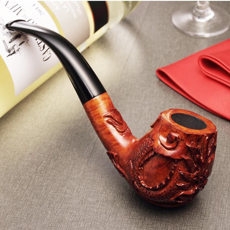 2019 nouveau dragon chinois ADOUS sculpté à la main briar pipe à tabac fumer tuyaux incurvés 9 MM
