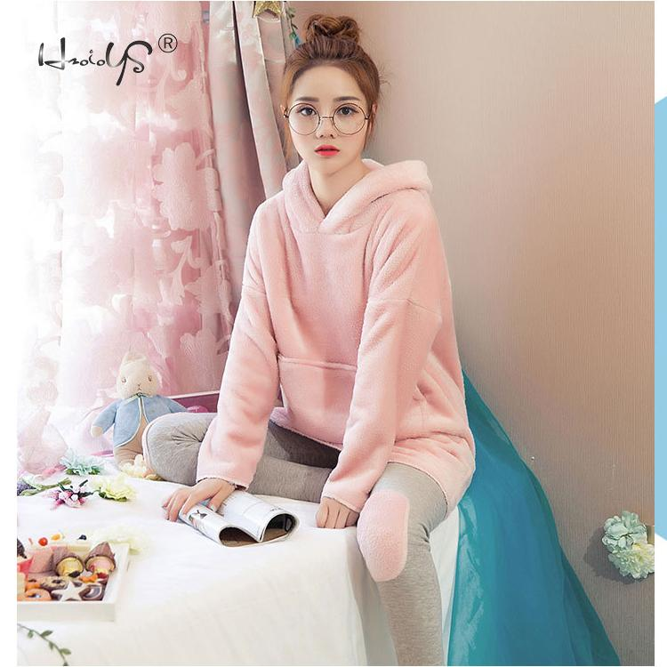 Image 3 - Pink Flannel Thick Sleepwear Women Winter 2 Piece Set Pajamas Set Hooded Cartoon Pyjamas With Pocket Female Casual Home Clothing-in Pajama Sets from Underwear & Sleepwears