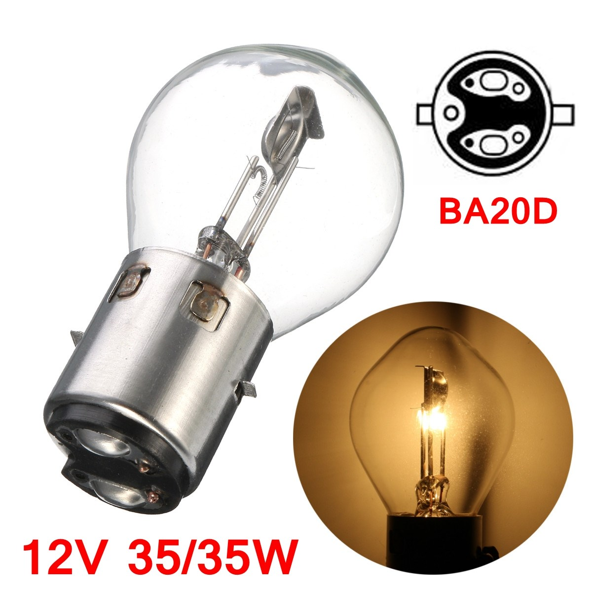 BA20d Motorcycle ATV Moped Scooter Headlight Lamp Bulb 12v 35 35w Hi-Low beam BA20d Quartz Metal Yellow
