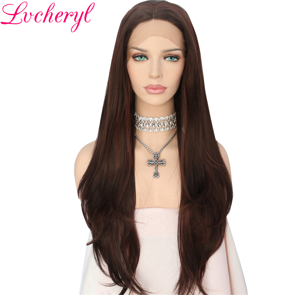 100% Quality Lvcheryl Highlight Ombre Brown Soft Long Natural Straight Heat Resistant Fiber Hair Wigs Synthetic Lace Front Wig For Women