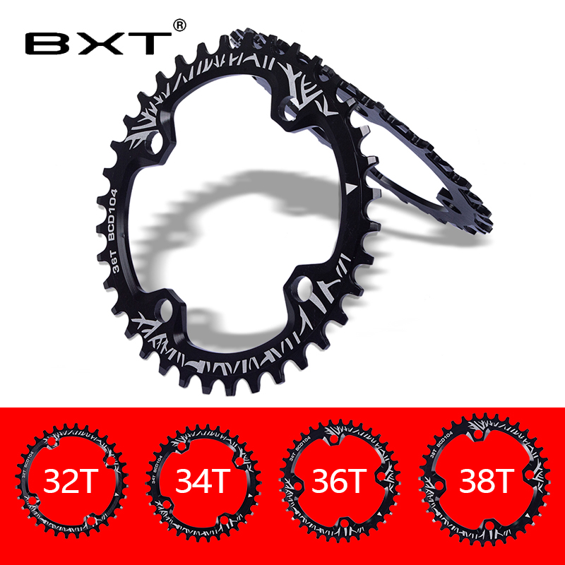 2020 bxt bicicleta manivela 104bcd forma redonda chainring bicicleta chainwheel 32 t/34 t/36 t/38 t mtb pedaleira de alumínio única placa|Correia da bicicleta| |  -