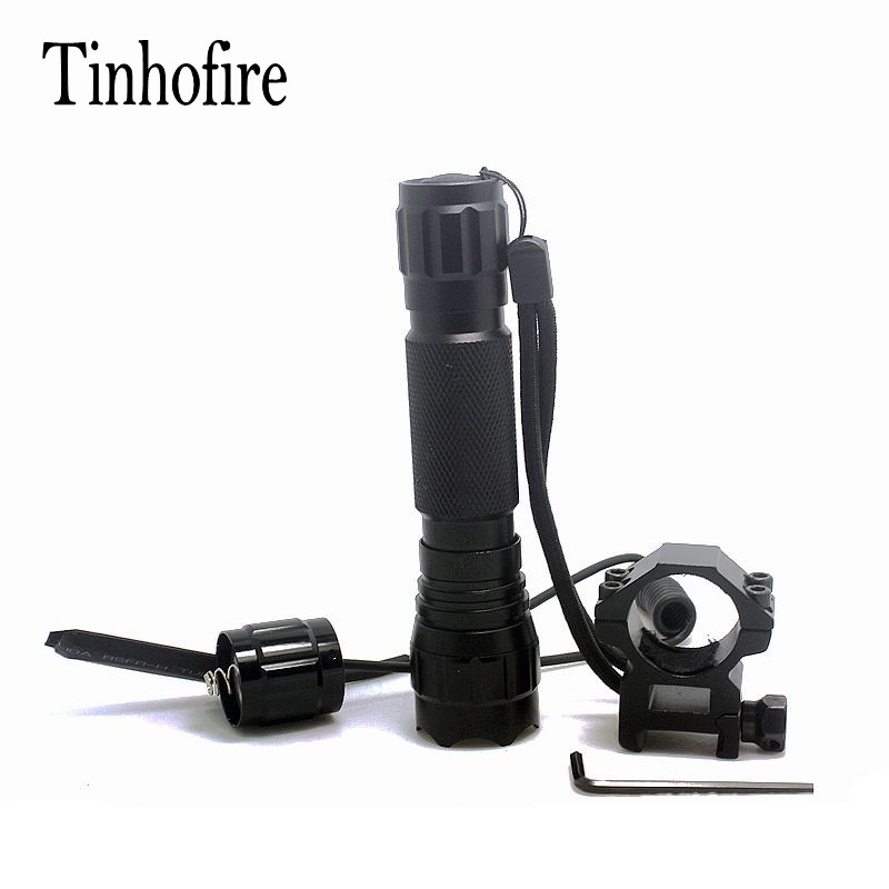 Tinhofire 501B Tactical Flashlight XML T6 LED Torch Lamp 2000 Lumens Lantern with Mount and Remote Control Pressure Switch anjoet led hunting flashlight 6000 lumens 3 x xml t6 5mode 3t6 torch light suit gun mount remote pressure switch charger