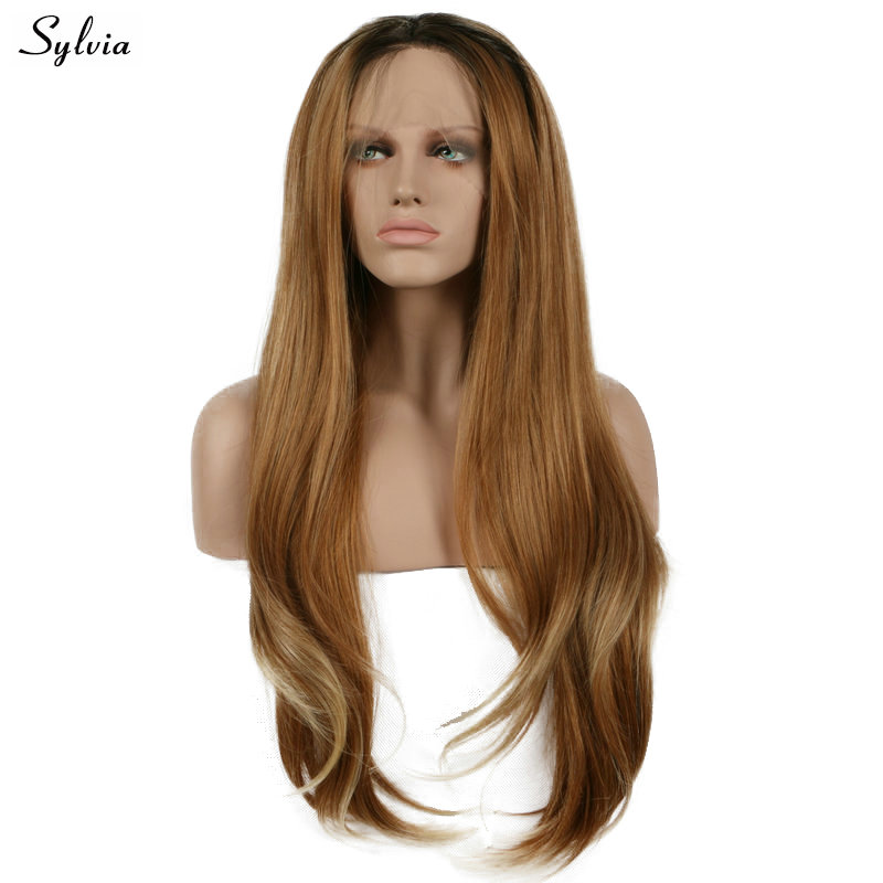 Sylvia Long Hair Water Wave Synthetic Lace Front Wigs Brown Ombre Blond Color Hair Natural Hairline For White Women Cosplay Hair Professional Design Synthetic Wigs