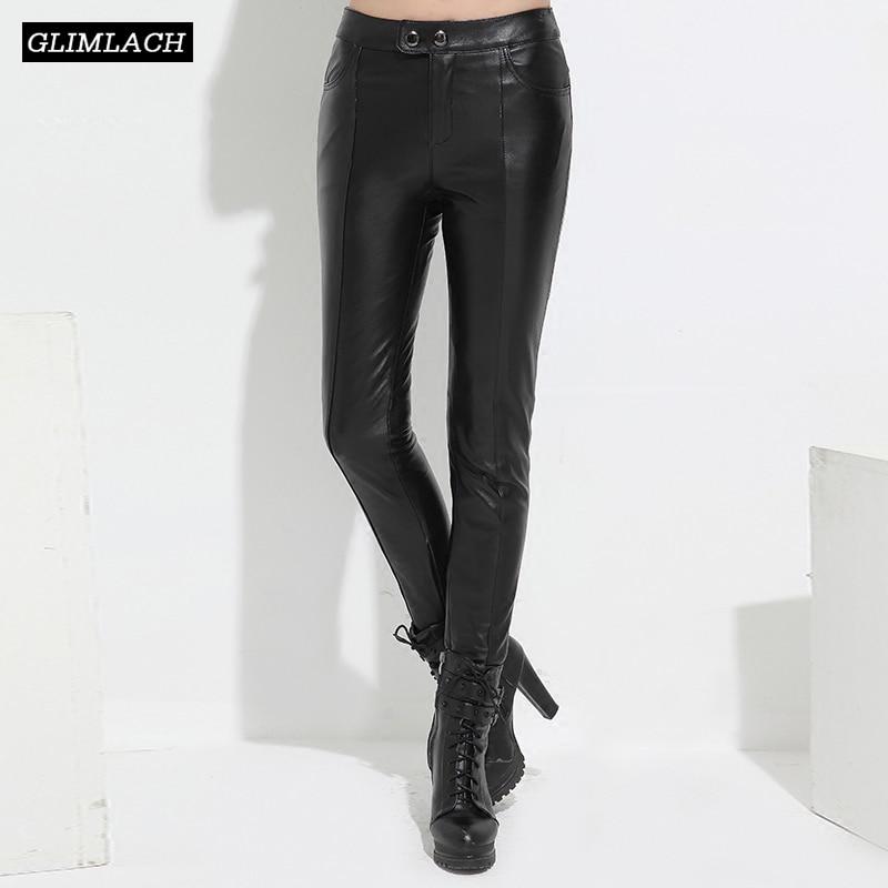 New Lady Sheepskin Real Leather Trousers Black Slim High Waist Streetwear Plus Size Autumn Women Genuine Leather Pencil Pants