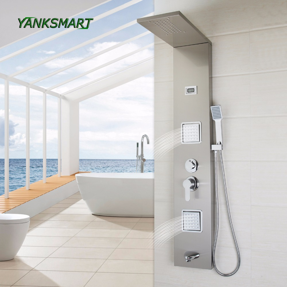 Shower Faucets Yanksmart Uk Shower Panel Column Screen Nickel Brushed Digital Stainless Steel Bathroom Faucet Mixer Tap With Hand Sprayer