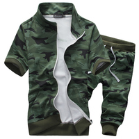 2016 Fashion Men S Summer Military Camouflage Leisure Cardigan Sport Suits T Shirts Shorts Men Camouflage