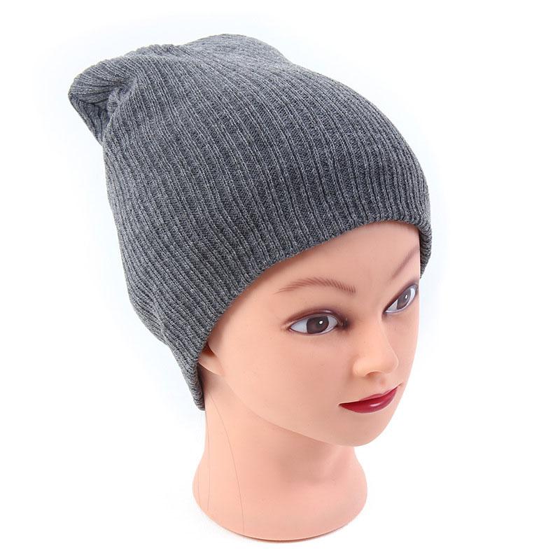 13076143b75 Gorro Men Women s Winter Hats Stretchy Slouch Beanie Light Weight Knit  Skull Cap Black Gray Navy