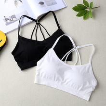 Women Crop Tops Camisole Camis Underwear Strappy Padded Fitness Bra Tops Cropped Feminino
