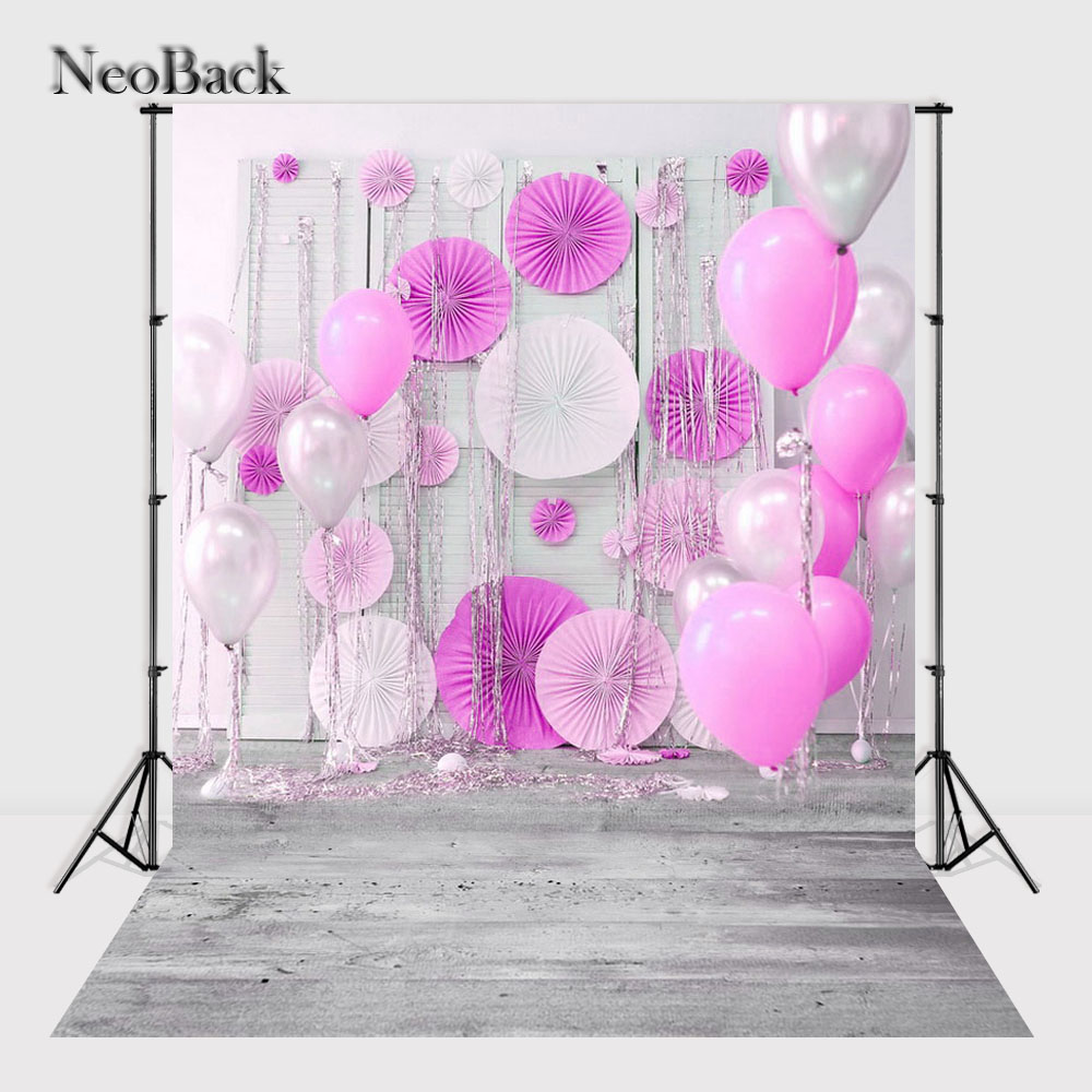 NeoBack Vinyl Cloth New Born Baby Photography Backdrop Pink Balloon Wedding Children Birhtday Studio Photo backgrounds P2439