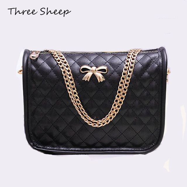 5455f9ccdda74 bow chain messenger bag women pu leather white quilted small crossbody shoulder  bags sling evening clutch bags sac femme