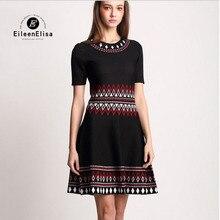 Runway Dress 2017 Women High Quality Black Geometric Luxury Dresses