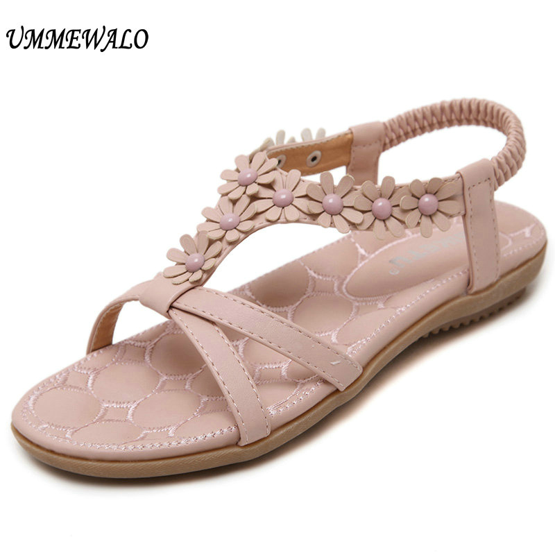 UMMEWALO Sandals Women Designer Thong Flat Strappy Sandals Flowers Rhinestone Gladiator Sandal Summer Shoes Zapatos Mujer