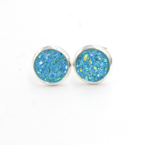 Image 2 - Fnixtar 8mm Stainless Steel Tiny Drusy Stud Earrings Round Cut Faux Druzy Earrings For Women  20 pairs/lot