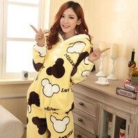 Woman Winter Flannel Pajamas Cartoon Mickey Girls Hooded Thick Warm Casual Homewear Female Sleepwear Set Warm
