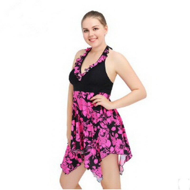 2018 Plus Size Swimwear One Piece Swimsuit Women Summer Beach Vintage Retro High Waist Bathing Suit Swim Dress Beachwear plus size zigzag backless one piece swimsuit